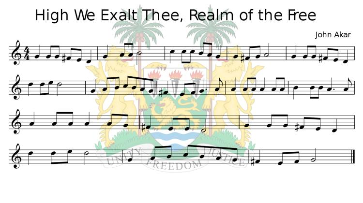 High We Exalt Thee, Realm of the Free